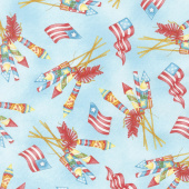 Back Porch Celebration - Vintage Fireworks Blue Yardage