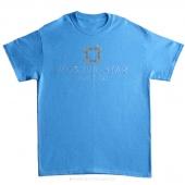 Missouri Star Medium Rhinestone T-Shirt - Heather Sapphire