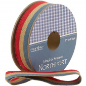 "Northport Twill Trim - 1"" Red/Tan/Navy"