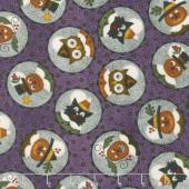 Happy Jacks & Friends - Happy Circles Purple Flannel Yardage