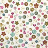 Cute as a Button - Buttons & Flowers Eggshell Yardage
