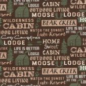 Home Sweet Cabin - Cabin Words Brown Yardage