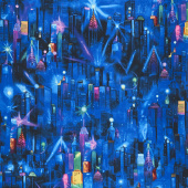 Novelty - City Night Scene Blue Yardage