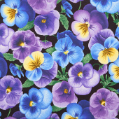 Pansy Paradise - Large Pansies Black Yardage