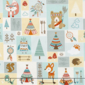 Camp - A - Long Critters - Patchwork Light Green Yardage