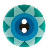 """Kaffe Fassett Button - 5/8"""" Green Multi Star Flower"""