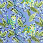 Tabby Road - Discokitty Blue Bird Yardage