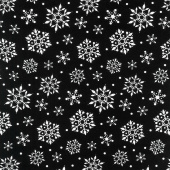 Gnome for Christmas - Snowflakes Black Flannel Yardage