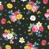 Afternoon Picnic - Floral Black Yardage