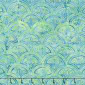 Peacock Galore Batiks - Clamshell Lime Yardage
