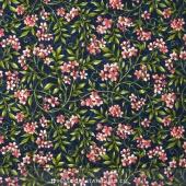 Bluebird Gathering - Allover Flowers Navy/Pink Yardage