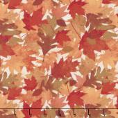 Amber Reflections - Packed Leaves Ivory Yardage