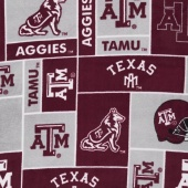 Fleece College - Texas Aggies Burgundy Yardage