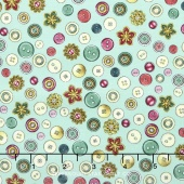 Cute as a Button - Buttons & Flowers Aqua Yardage