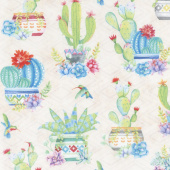 Humming Along - Potted Cactus Allover Tan Yardage