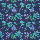 Night Riviera - Large Floral Navy Yardage