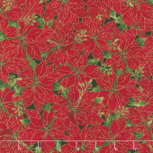 A Joyful Season - Packed Poinsettias Red Metallic Yardage