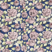 Sweet Stems - Floral Dark Blue Yardage