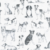 Dogs - Playful Pups Grey Yardage