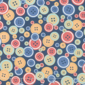Crafters Gonna Craft - Buttons Navy Yardage