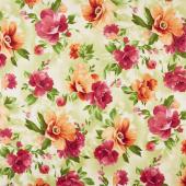 Paradise - Floral Paradise Soft Green Yardage