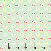 Cherry Lemonade - Lemons & Cherries Green Yardage