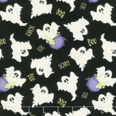 A Haunting We Will Glow - Ghosts Allover Black Glow in the Dark Yardage