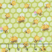 Busy Bees - Small Honeycomb Bees Green Yardage