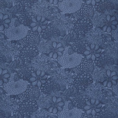 "Wilmington Essentials - Floral Toile Navy 108"" Wide Backing"