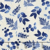 Indi-glow - Small Leaves Ivory Yardage