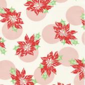 Swell Christmas - Poinsettia Polka Dot Cream Yardage