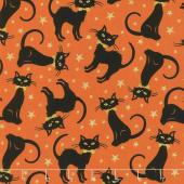 Midnight Spell - Black Cats Orange Metallic Yardage