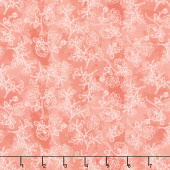 Midnight Rose - Rose Stems Coral Yardage