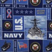 Military - Navy Collage Blue Fleece Yardage