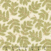 Cardinal Song Metallic - Pine Branches Cream Yardage