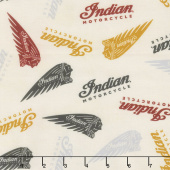 Indian Motorcycle - Logos Cream Yardage