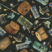 Animals - Fishing Gear Black Flannel Yardage