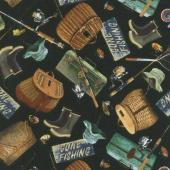 Animals - Fishing Gear Black Flannel Yardage