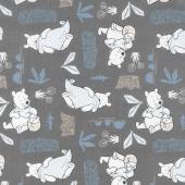 Winnie the Pooh - Blankets and Honey Dark Grey Yardage