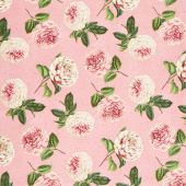 Le Bouquet - Roses and Peony Toss Medium Pink Yardage