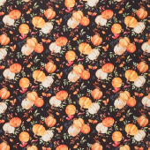 Autumn Day - Pumpkin Toss Black Yardage