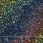 Safari, So Goodie - Rainbow Dots Black Yardage