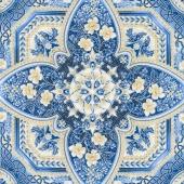 Holiday Flourish 10 - Blue Medallion Blue Metallic Yardage