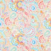 Wild Blush - Floral Gold Paisley Pink Yardage