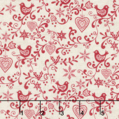 Scandi 5 - Scroll Cream Red Yardage