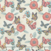 Monarch Grove - Flowers Cream Digitally Printed Yardage