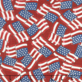 Land That I Love - Waving Flags Patriotic Red Yardage