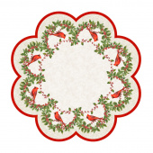 Cardinal Woods - Tree Skirt or Table Topper Cream Multi Digitally Printed Panel