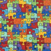 Crayon Party - Puzzle Pieces Bright Yardage
