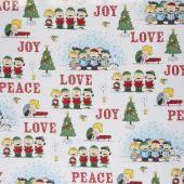 Peace Love Joy - Charlie Brown Caroler Vignette White Yardage